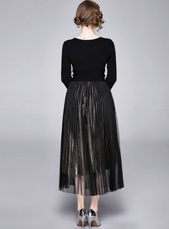 Black Pullover Knit Top & Mesh Pleated Skirt