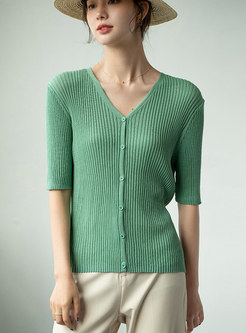 V-neck Half Sleeve Ribbed Knit Top