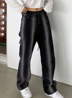 Black High Waisted Washed Denim Straight Pants