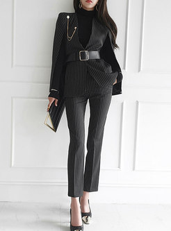 V-neck Striped Cloak Blazer & High Waisted Slim Pants