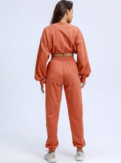Crew Neck Drawstring Sweatshirt Pant Suits