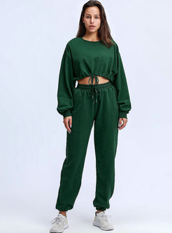 Crew Neck Drawstring Sweatshirt Pant Suits