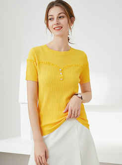 Solid Pullover Short Sleeve Knit Top