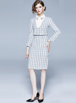 Long Sleeve Plaid Patchwork Bodycon Two Piece Dress