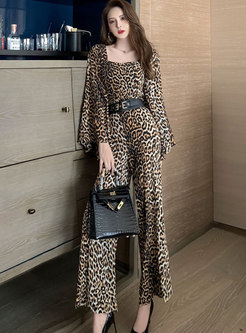 Square Neck Leopard Flare Sleeve Wide Leg Jumpsuis