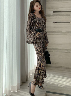 Square Neck Leopard Flare Sleeve Wide Leg Jumpsuis