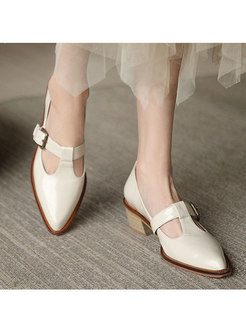 Pointed Toe Low-fronted Buckle Shoes