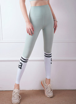Color-blocked Letter Print Patchwork Yoga Pants