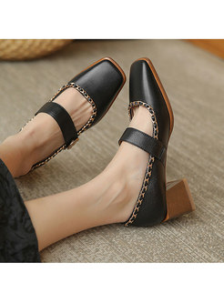 Square Toe Block Heel Low-fronted Shoes