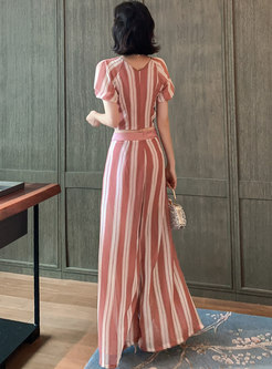 V-neck Striped Drawstring Chiffon Wide Leg Pant Suits