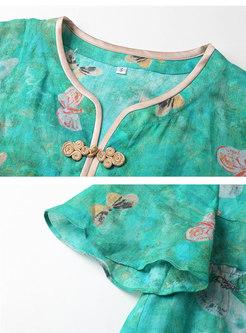 Short Sleeve Print Loose Pullover T-shirt