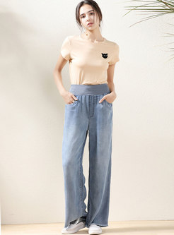 Blue Elastic Waist Denim Wide Leg Pants