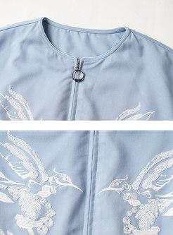 Crew Neck Embroidered Short Jacket