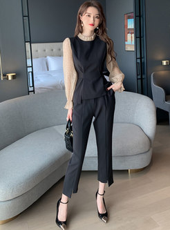 Color-blocked Mock Neck Polka Dot Patchwork Pant Suits