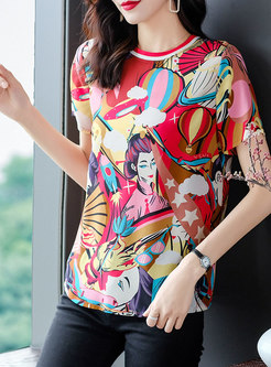 Print Short Sleeve Pullover Silk T-shirt