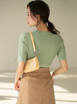 Crew Neck Pullover Slim Ribbed Knit Top