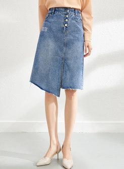 High Waisted Fringed A Line Denim Skirt