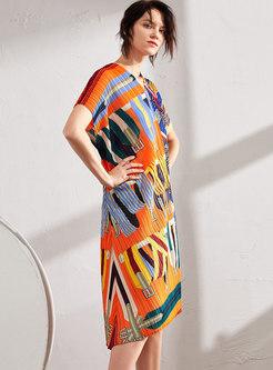 V-neck Print Asymmetric Pleated Shift Dress