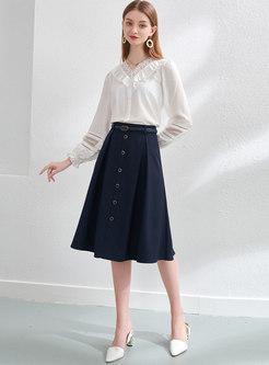High Waisted A Line Knee-length Skirt