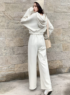 Hooded Pullover Casual High Waisted Pant Suits