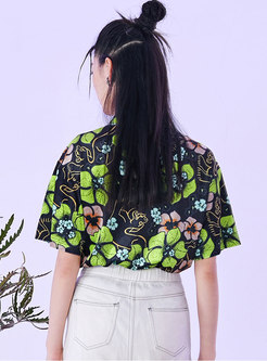Mock Neck Print Velvet Pullover T-shirt