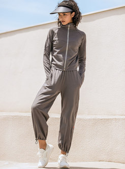 Mock Neck Striped Patchwork Daily Sweat Suits