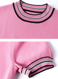 Crew Neck Striped Slim Pullover Knit T-shirt