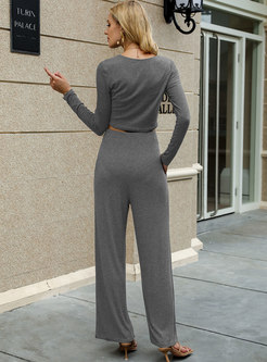 Long Sleeve Crop Top & High Waisted Palazzo Pants