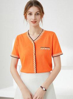 V-neck Short Sleeve Pullover Jiffyshirts