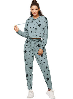 Hooded Pullover Stars Print Sweat Pant Suits