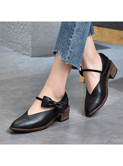 Pointed Toe Bowknot Chunky Heel Daily Shoes