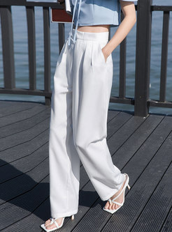 Casual High Waisted Solid Straight Pants