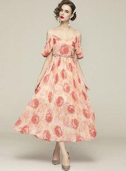 Bohemian Puff Sleeve Print Beach Maxi Dress