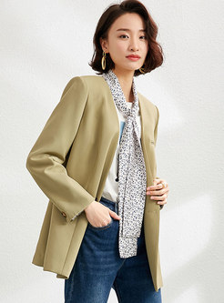 Brief Long Sleeve Blazer With Leopard Scarf
