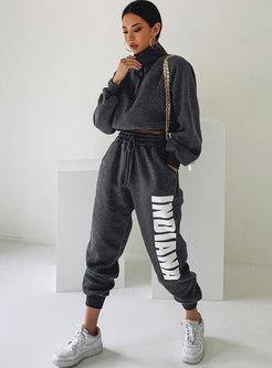 Long Sleeve Letter Print Sweat Pant Suits