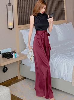 Sleeveless Slim Top & High Waisted Split Wide Leg Pants