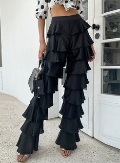 Black High Waisted Tiered Straight Flare Pants
