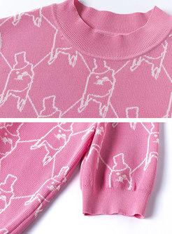 Crew Neck Cartoon Pattern Pullover Knit Top