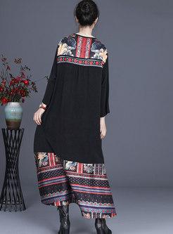 Print V-neck Patchwork Shift Maxi Dress
