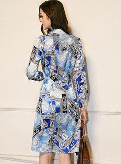 Turn Down Collar Satin Knee-length Shirt Dress