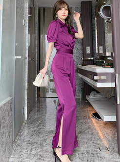Short Sleeve Satin High Wasited Wide Leg Pant Suits