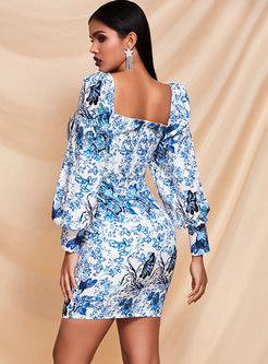 Square Neck Puff Sleeve Print Mini Bodycon Dress