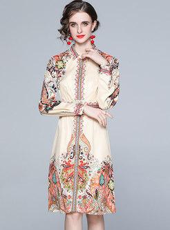 Long Sleeve Print Belted A Line Shirt Dress