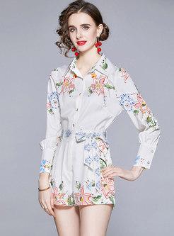 White Print Single-breasted Shirt & High Waisted Shorts
