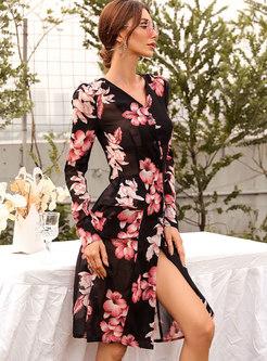 V-neck Print Split Knee-length Skater Dress