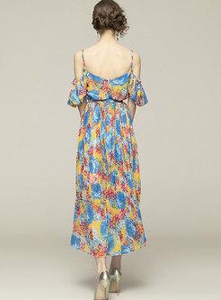 Bohemian V-neck Print Big Hem Beach Maxi Dress