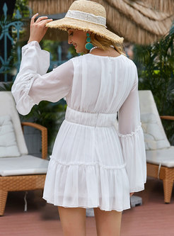 Bohemian V-neck Flare Sleeve Chiffon Mini Dress