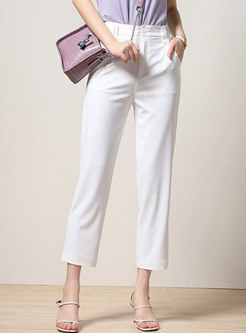 Brief Solid Casual Harem Cropped Pants