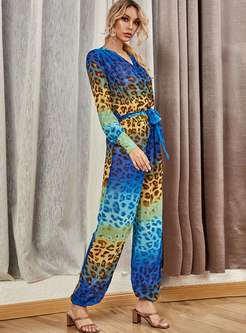 Casual V-neck Leopard Gradients Straight Jumpsuits