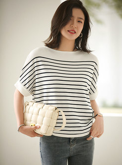 Bat Sleeve Striped Pullover Loose Knit Top
